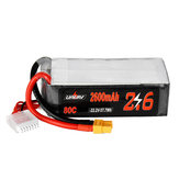 URUAV 22.2V 2600mAh 80C 6S Lipo Battery XT60 Plug for Align 500 RC Helicopter