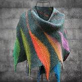 Sciarpe e scialli a blocchi di colore lavorati a maglia casuali