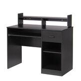 Escritorio para computadora con cajones Estante de almacenamiento Teclado Bandeja Escritorio para el hogar Escritorio para computadora portátil Mesa de escritorio para espacios pequeños