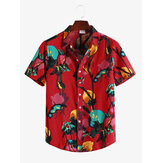 Mens Ethnic Floral Printed Turn Down Collar Casual Shirts