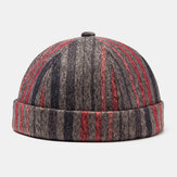 Unisex Plush Soft Fabric Plaid Striped Wavy Pattern Round Top Fashion Casual Beanie Landlord Cap Brimless Hat Skull Cap