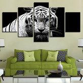 5 SZTUK Modern Home Sypialnia Wall HD White Tiger Art Picture Malowanie natryskowe naklejki ścienne