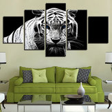 5 stks moderne thuis slaapkamer muur HD witte tijger kunst foto spray schilderij muursticker