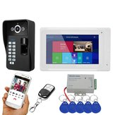 ENNIO 7 inch Wifi Wireless Fingerprint RFID Video Phone Doorbell Intercom System with Wired AHD 1080P  Door Access Control System,Support Remote APP Unlocking,Recording,Snapshots
