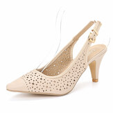 LOSTISY Women Hollow Out Pointed Toe Slingback Office Pumps