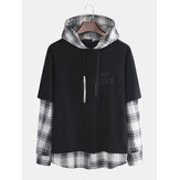 Men New Style Hooded Sweaters Japanese Casual Lattice Stitching Jacket
