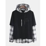 Hombres nuevo estilo suéteres con capucha chaqueta de costura de celosía informal japonesa