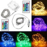 Battery Operated USB Powered Waterproof 5M 50LED Colorful Sliver Wire String Light + 24Keys Remote Control for Holiday