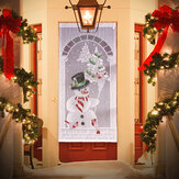 Christmas Curtains White Lace Snowman Window Door Xmas Decor Home Party Curtains Decorations