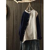 Blusa con bottoni laterali Collo Camicetta vintage patch bicolore