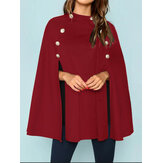 Women British Style Solid Color Button Loose Elegant Cloak Coats