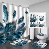 Peacock Feathers 4PCS Waterproof Bathroom Shower Curtain Toilet Cover Mat Non-Slip Floor Mat Rug Bathroom Set with 12 Hooks