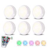 6 adet LED Gece Lambası RGBW / Beyaz Wiress Uzakdan Kumanda Contro Kabine Işık Yatak Odası Mutfak Dolap için