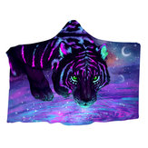 Galaxy Tiger Wearable Hooded Blankets Multifunktionale Herbst Winter Dual Layer 3D-Druck Plüsch Warmer Schal Umhang für Erwachsene Kinder