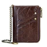RFID Echtes Leder 10 Kartenfächer Anti-Theft Wallet für Männer