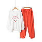 Cotton Printing O Neck Loungewear Long Sleeve Pajamas