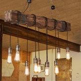 Araña de techo rústica industrial de madera Colgante Lámpara colgante
