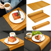 Wood Sofa Arm Rest Tray Flexible Couch Placemat Bamboo Foldable Snack Holder Table Pad