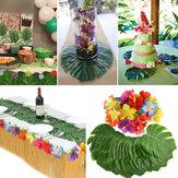 60 Шт. Тропические Искусственные Пальмовые Листья Гавайские Цветы Гибискуса Свадебное День Рождения Украшения Настольные Украшения