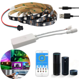 Non-waterproof WS2812 1M/2M Smart LED Strip Light+DC5-24V SP501E Controller Work White Alexa Google Assistant  Christmas Decorations Clearance Christmas Lights