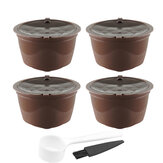 4Pcs/Set 50-100ml Refillable Coffee Capsule Cup Reusable Coffee Pods w/ Coffee Spoon Brush for Nescafe Dolce Gusto Brewer