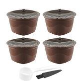 4 pezzi / set 50-100 ml di capsule di caffè ricaricabili tazza di caffè riutilizzabile cialde con cucchiaio da caffè Pennello per Nescafè Dolce Gusto Brewer