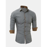 Mens Personality Contrast Color Casual Solid Color Slim Designer Shirt