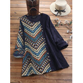 Ethnic Print Corduroy Patchwork Long Sleeve Vintage Blouse