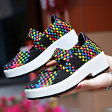 Women Colorful Knitted  Chunky Heel Casual Sneakers