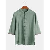 メンズ100%コットンボタンダウン刺繍スリーブオリエンタルヴィンテージシャツ