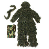 Ghillie Suit Camo 3D Woodland Camouflage Forest Hunting Hide Camping Clothing 5Pcs Bag