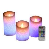 Velas votivas sem chamas esculpidas para festival de 3 peças LED Controle Remoto Luzes de decoração de Halloween com mudança de cor do temporizador de velas