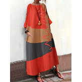 S-5XL Women Vintage Loose Baggy Long Casual Dress