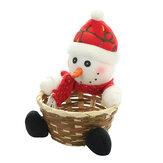 Cesta de frutas de Natal de bambu para crianças presente de natal, doces, armazenamento Caixa recipiente de decorações para alces de natal, recipiente para casa