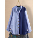Striped Patchwork Stand Collar Button Plus Size Shirts
