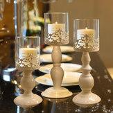 White Carving Flower Candlestick Kerzenhalter mit Glas Lampenschirm Kandelaber Home Hochzeitsfeier Dekor