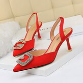 Women Rhinestone Pointed Toe Slingback Buckle Fashion Pumps