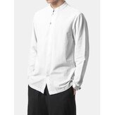 Mens  Cotton Stand Collar Pure Color Casual Shirts