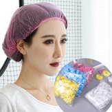 100pcs Individual Package Disposable PE Bath Shower Caps Waterproof Dustproof Shower Bag Bath Protective Strip Caps for Spa Hair Salon
