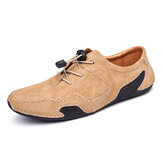 Menico Men Genuine Leather Hand Stitching Soft Casual Shoes
