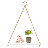 35cm/45cm Single Layer Wooden Rope Hanging Wall Shelf Vintage Floating Storage Rack Wall Mount Bookshelf Home Decorations Stand