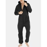 Macacão masculino mulit com bolsos espessos calça comprida com zíper macacão pijama liso com capuz