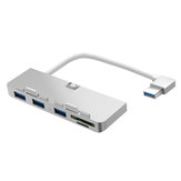 Rocketek HC412 Aluminium USB 3.0 Hub TF / SD Kartenleser USB Adapter für IMAC Phone Camera Printer U Disk