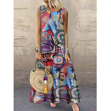 Women Retro O-neck Floral Print Sleeveless Maxi Dress