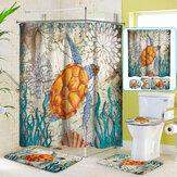 4PCS Sea Turtle Printing Bathroom Shower Curtain Toilet Cover Mat Non-Slip Rug Set