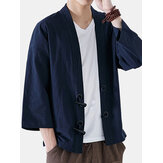 INCERUN Heren Loose Cotton Vintage Horn Buckle Jacket Tops