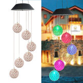 Color Changing Solar LED Rattan Balls Hanging Spiral String Wind Chimes Lamp Light
