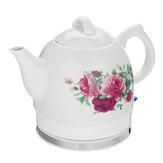 花ローズの可変的な臨時雇用者の白が付いている1.2L電気茶水やかんの陶磁器の鍋