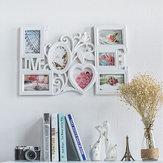 61 * 40cm Bianco Creativo Amore a forma di cornice per foto Montaggio a parete 6 Immagini Decor Novità