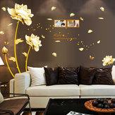 Ouro Flor Decalque Mural PVC Adesivo de parede Removível Art Wall Living Room Decor